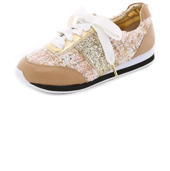 Kate Spade New York Sidney tweed jogging sneakers in honey/natural/gold - Playful Kate Spade New York sneakers in a mix of tweed,...