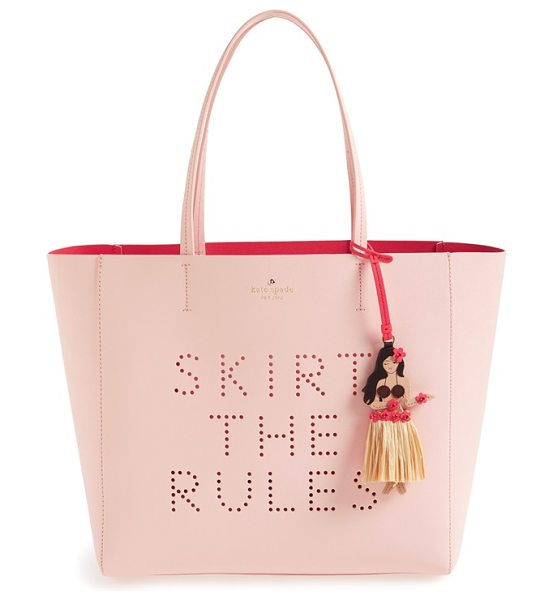Kate Spade New York Skirt the rules in urchin pink - A darling hula girl charm adorns a Saffiano leather tote...
