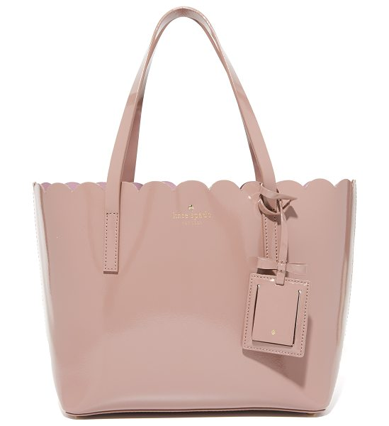 Kate Spade New York Small carrigan tote in porcini/rose taupe - A scalloped top line adds charm to this patent leather...