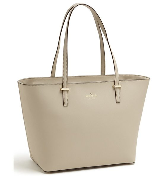Kate Spade New York Small cedar street harmony tote in snow fog/ stone ice - Crosshatched leather composes a minimalist tote with...