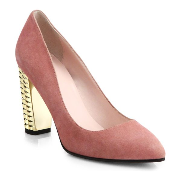 Kate Spade New York Suede neptune pumps in rose - Polished suede pumps in a timeless almond-toe silhouette...