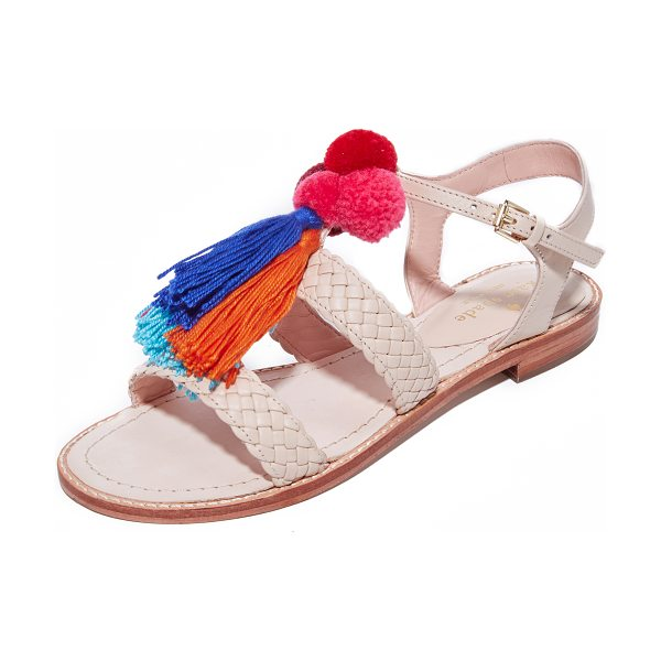 Kate Spade New York sunset woven sandals in sand - Soft, colorful pom-poms and tassels add summery style to...