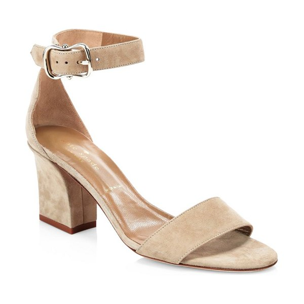 Kate Spade New York susane suede ankle-strap heels in cashmere - Classic ankle-strap sandals with a modern block heel....