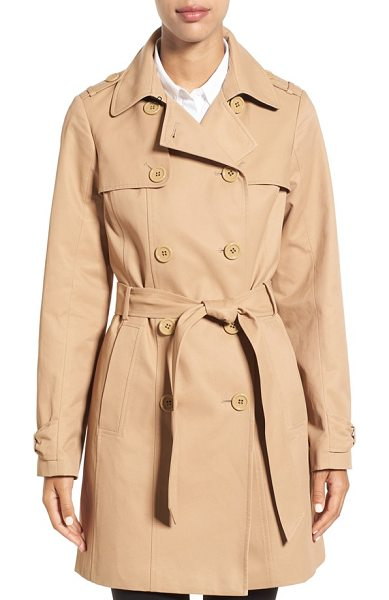 Kate Spade New York trench coat in camel - Myriad heritage details including gun flaps, storm flaps...