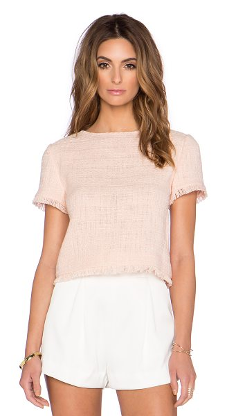 KATE SPADE NEW YORK Tweed fringe top - 100% cotton. Dry clean only. Exposed back zipper...
