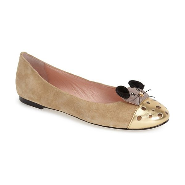 Kate Spade New York walt skimmer flat in desert - A curious mouse made with a signature spade nose gets...