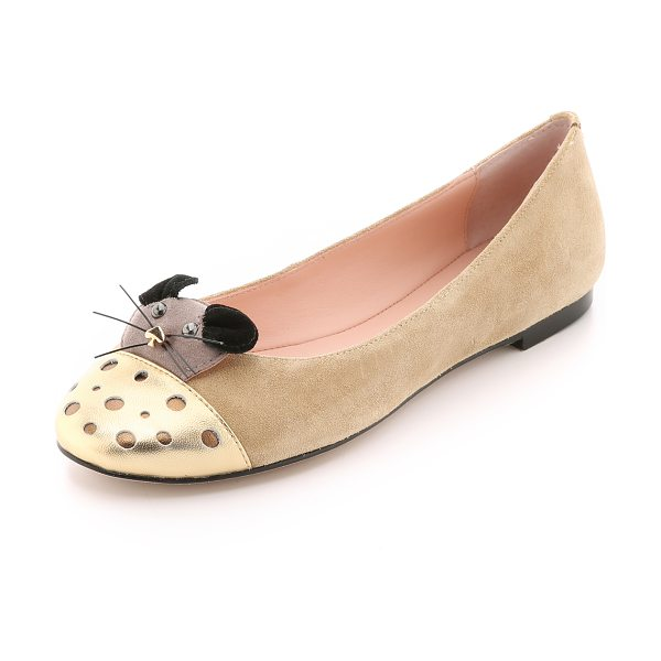 Kate Spade New York Walt suede flats in desert - Mouse face detailing brings playful personality to these...