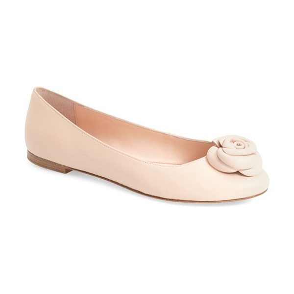 Kate Spade New York walta flat in pale pink nappa - A dainty rose embellishment stands out at the toe of a...