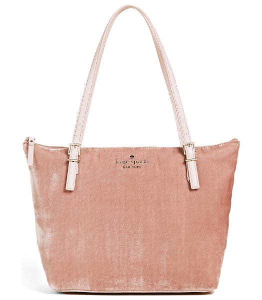 KATE SPADE NEW YORK watson lane small maya tote in ginger - A plush velvet Kate Spade New York tote with studded...