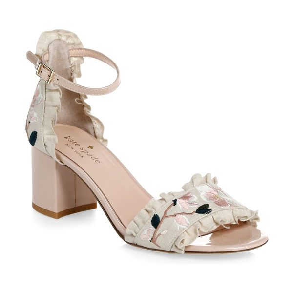 Kate Spade New York wayne floral-embroidered linen & patent leather slingback heels in pink sand - Floral embroidery accentuates ruffled trim on elegant...