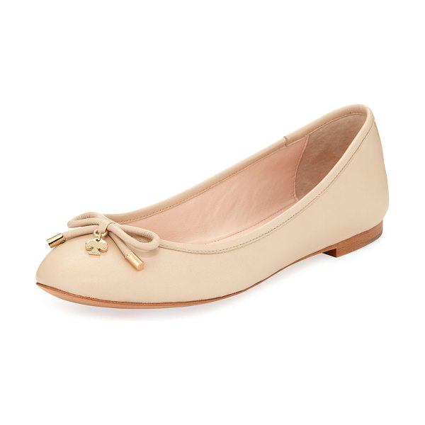 """Kate Spade New York willa classic leather Ballet Flats in powder - kate spade new york ballerina flat in napa leather. 0.4""""..."""