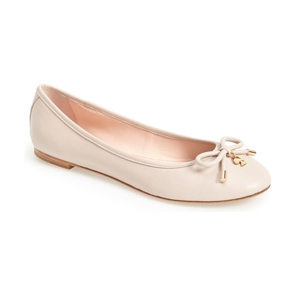 Kate Spade New York 'willa' skimmer flat in powder - A prim, charm-embellished bow lends unmistakable...