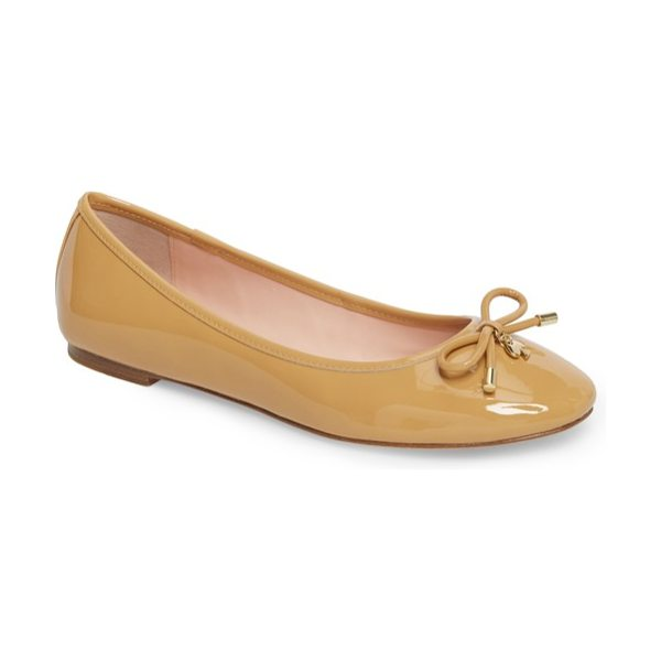 Kate Spade New York 'willa' skimmer flat in camel patent - A prim, charm-embellished bow lends unmistakable...