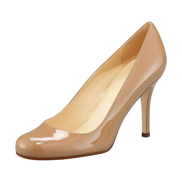 Kate Spade New York karolina patent pump in camel - High-gloss patent leather forms round-toe silhouette....