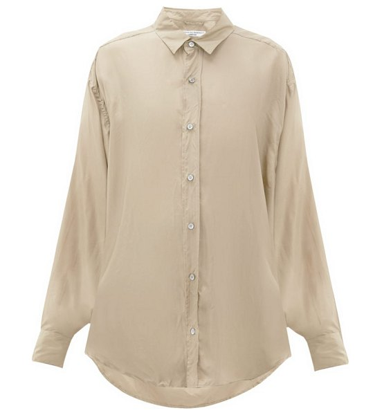 KATHARINE HAMNETT LONDON nicola silk-satin shirt in beige