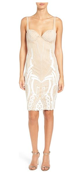 Katie May 'cara' backless ribbon lace embroidered tulle sheath dress in ivory/nude - An intricate play of ribbon and lace embroidery traces...