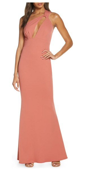Katie May edgy one-shoulder sleeveless gown in pink