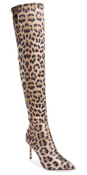 Katy Perry the idolize over the knee boot in brown - A svelte stiletto heel lofts the towering silhouette of...