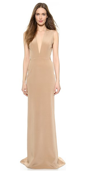 Kaufman Franco Backless deep v gown in nude - Rich silk composes this elegant, floor length Kaufman...