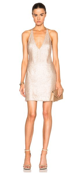 Kaufman Franco Crystal & Silk Dress in pink,metallics - 100% silk.  Made in USA.  Fully lined.  Hidden side zip...