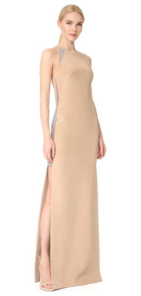 Kaufman Franco long gown in tan/crystal - Rhinestone mesh panels trim the sides and straps of this...