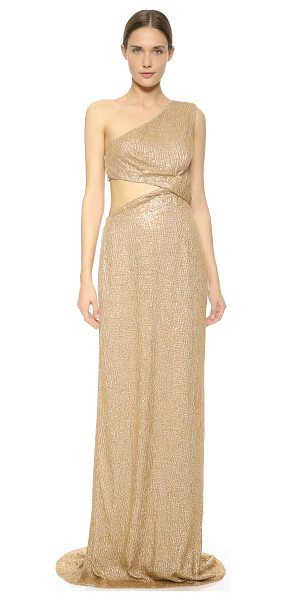 Kaufman Franco One shoulder gown in gold - A glittering KAUFMANFRANCO gown, embroidered with...