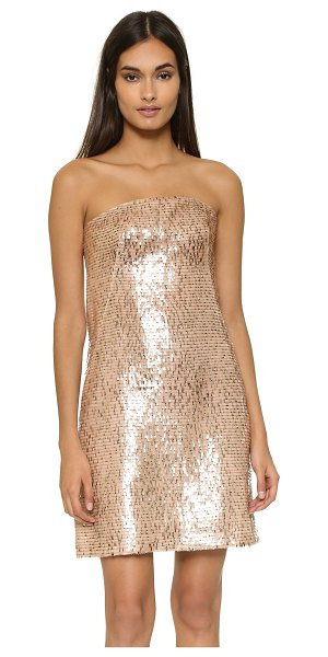 Kaufman Franco Strapless dress in gold/nude - Delicate clear and metallic sequins shimmer throughout...