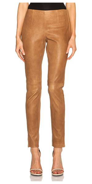 Kaufman Franco Stretch leather pants in neutrals - Self: 100% lambskin leather - Contrast Fabric: 97%...