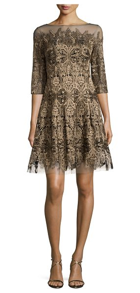 Kay Unger 3/4-Sleeve Embroidered Fit-and-Flare Dress in gold - Kay Unger New York mesh dress with embroidered...