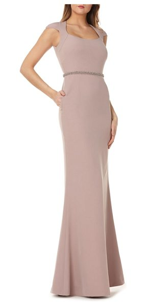 Kay Unger cap sleeve stretch crepe gown in brown - Keep all eyes on you in this stunning, floor-sweeping...
