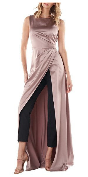 Kay Unger constance charmeuse & crepe maxi romper in brown
