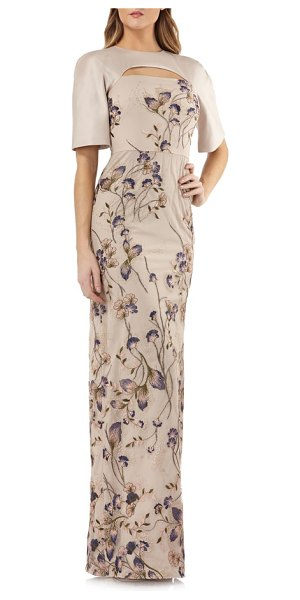 Kay Unger cutout detail embroidered beaded gown in gold multi - Elegant embroidery and sparkling beading make this...