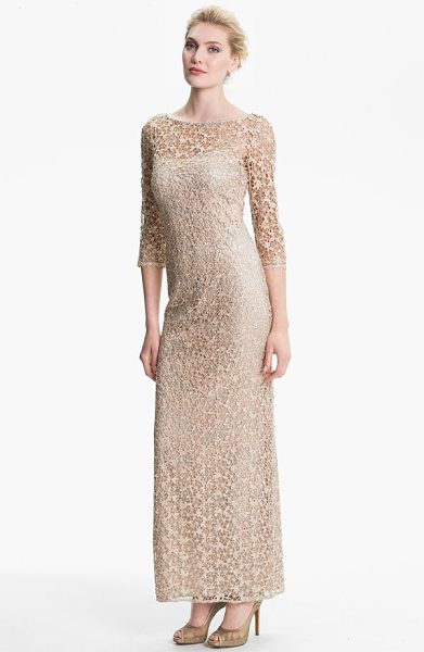 Kay Unger embellished illusion neck lace gown in bisque - Embellished lace shapes the three-quarter-sleeve overlay...