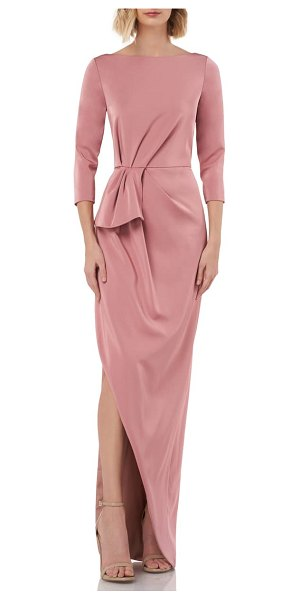 Kay Unger gathered waist evening dress in pink