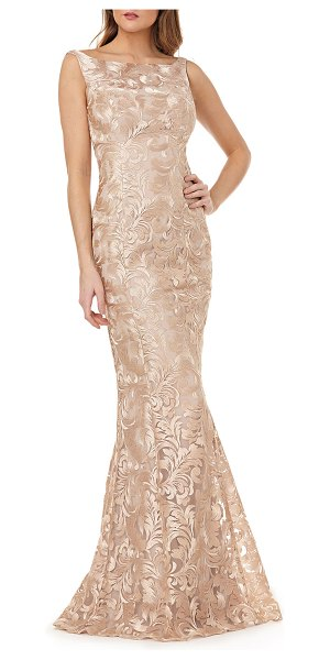 Kay Unger Metallic Lace Sleeveless Mermaid Gown in champagne