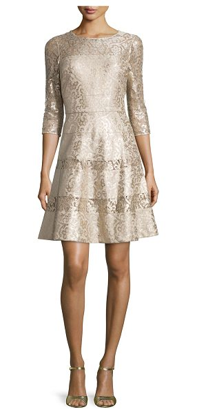 Kay Unger 3/4-Sleeve Lace Fit & Flare Dress in gold multi - Kay Unger New York metallic lace dress with semisheer...