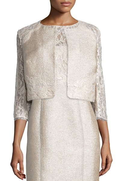 Kay Unger 3/4-Sleeve Lace Tweed Cropped Jacket in cream - Kay Unger New York shimmery tweed jacket with foiled...