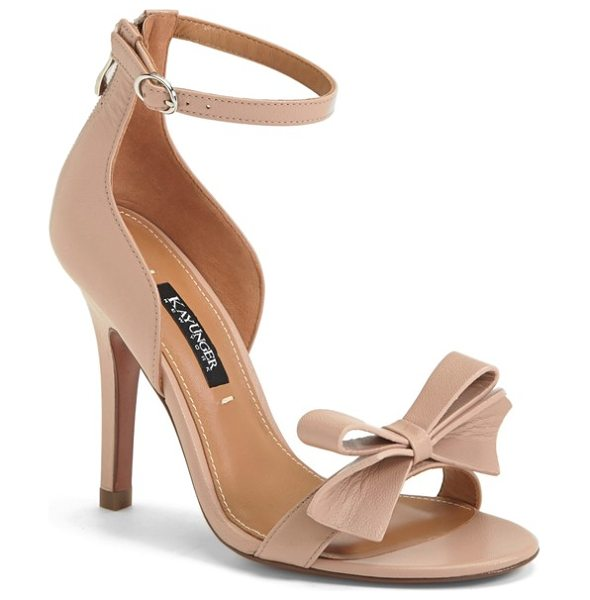 Kay Unger baroque ankle strap sandal in nude - A lithe ankle strap and a pristine bow at the toe...