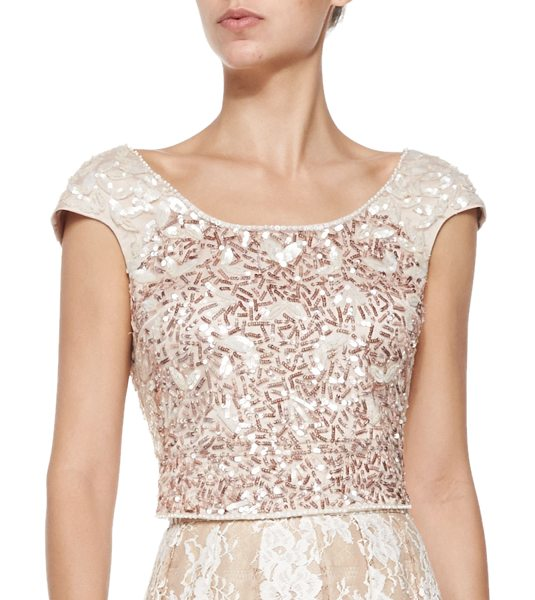 KAY UNGER Cap-sleeve beaded cropped top -  Kay Unger New York beaded top. Boat neckline extend to...