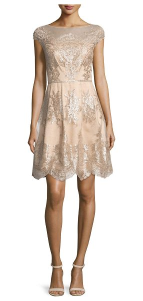 Kay Unger Cap-Sleeve Metallic Lace Fit-and-Flare Dress in mocha - Kay Unger New York dress with metallic lace trim....