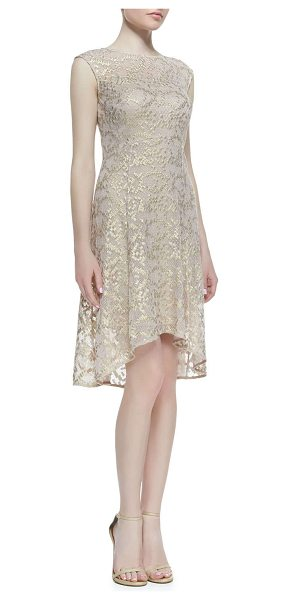 Kay Unger Cap-sleeve metallic lace high-low cocktail dress in rose multi - Metallic lace cocktail dress by Kay Unger New York....