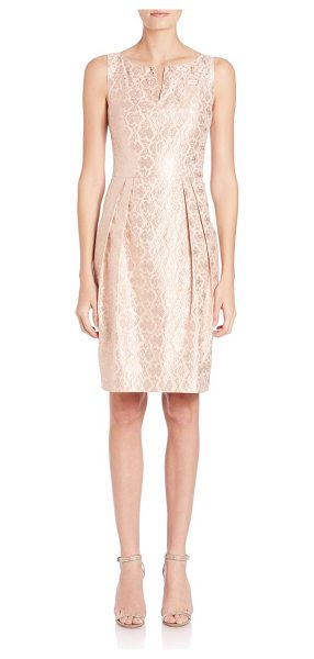 Kay Unger embellished jacquard sheath dress in blush - Radiant jacquard dress with subtle embellishment. Slit...