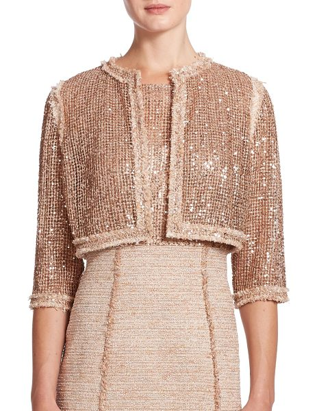 Kay Unger Embellished tweed-trim jacket in goldmulti - Spangled with gleaming sequins, this cropped-style...