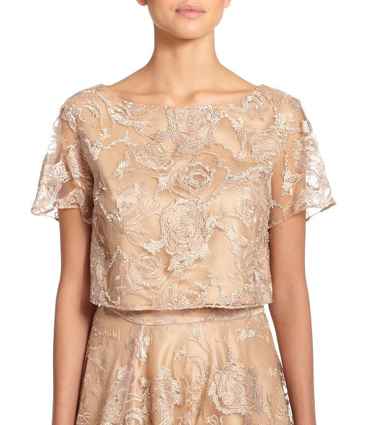 KAY UNGER Embroidered tulle cropped top in tan - Roses blossom in embroidery upon this tulle illusion...