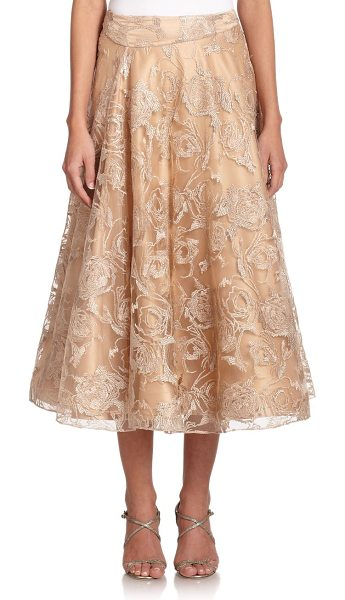 KAY UNGER Embroidered tulle full skirt - Metallic floral embroidery accentuates the feminine...