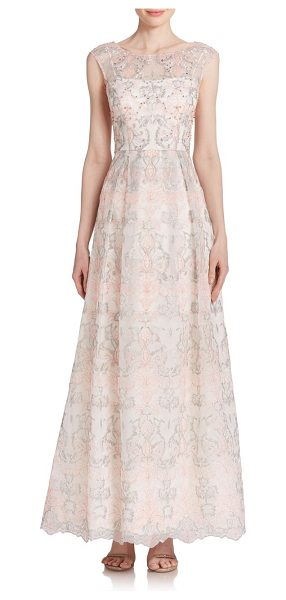 Kay Unger Floral lace gown in pinkmulti - Pretty floral lace in a two-tone hue offers this demure...