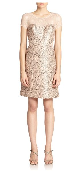 Kay Unger Illusion jacquard sheath in blush - Shimmering panels of metallic mesh embellish this...