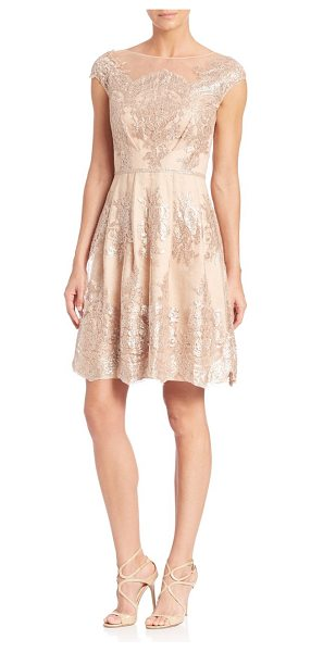 Kay Unger lace a-line dress in mocha - Ravishing lace details elevate this beautiful dress....