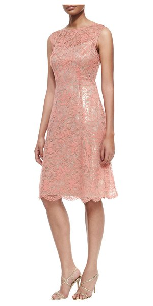 "Kay Unger Lace Cap-Sleeve Fit-and-Flare Dress in coral multi - Kay Unger New York lace dress. Approx. 40""L down back...."