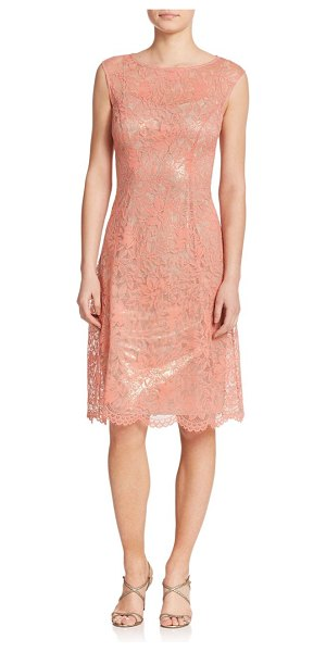 Kay Unger Lace shimmer a-line dress in coralmulti - A shimmering underlay peeks through the embroidered lace...